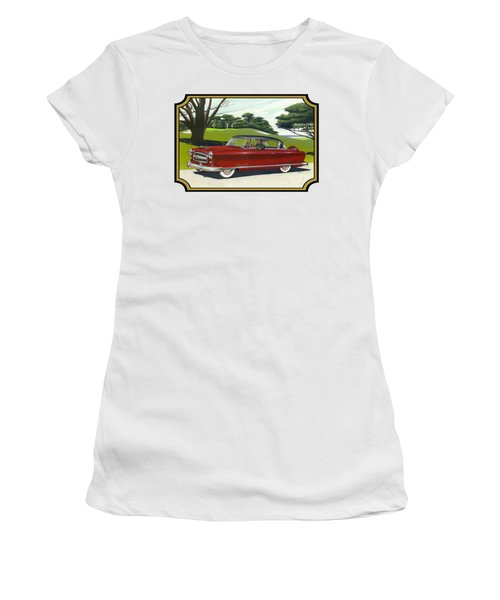 1953 Nash Rambler Car Americana Rustic Rural Country Auto Antique Painting Red Golf Women's T-Shirt (Junior Cut) by Walt Curlee