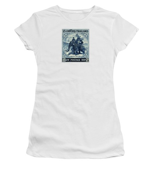 1955 Thailand War Elephant Stamp Women's T-Shirt (Junior Cut) by Historic Image