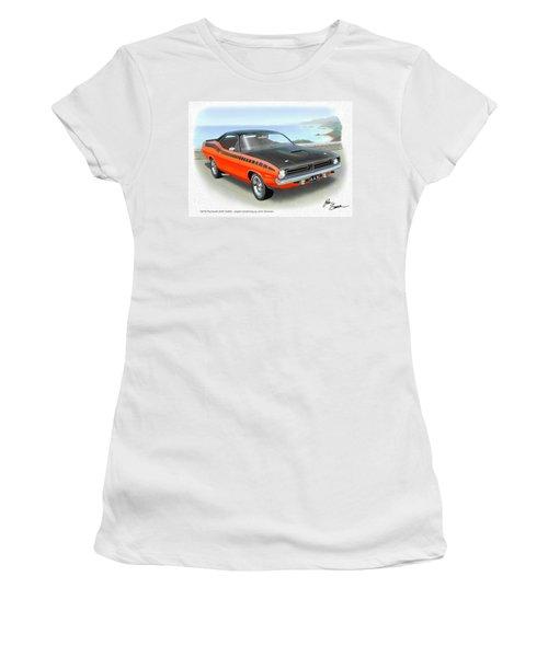 1970 Barracuda Aar  Cuda Classic Muscle Car Women's T-Shirt (Junior Cut) by John Samsen