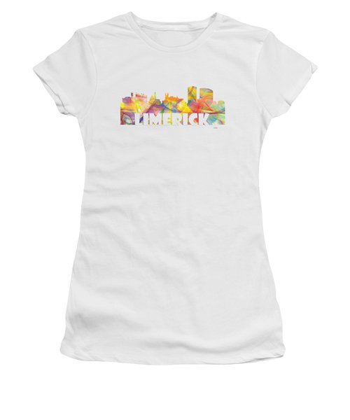 Limerick Ireland Skyline Women's T-Shirt (Junior Cut) by Marlene Watson