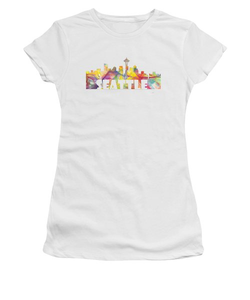 Seattle Washington Skyline Women's T-Shirt (Junior Cut) by Marlene Watson