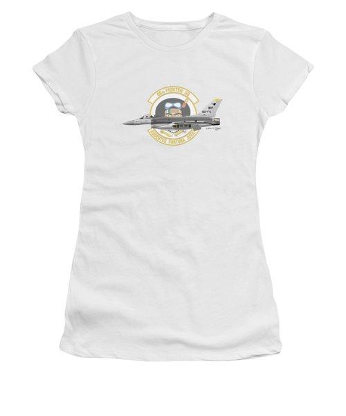 Lockheed Martin F-16c Viper Women's T-Shirt (Junior Cut) by Arthur Eggers