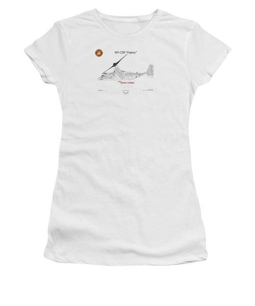 Bell Boeing Mv-22b Osprey Women's T-Shirt (Junior Cut) by Arthur Eggers