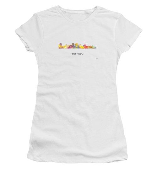 Buffalo New York Skyline Women's T-Shirt (Junior Cut) by Marlene Watson