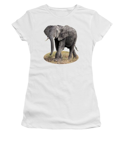 African Elephant Happy And Free Women's T-Shirt (Junior Cut) by Gill Billington