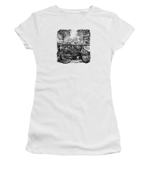 Amsterdam Bicycle Black And White Women's T-Shirt (Junior Cut) by Marian Voicu
