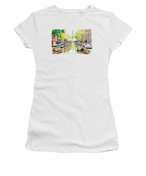 Amsterdam Canal 2 Women's T-Shirt (Junior Cut) by Marian Voicu