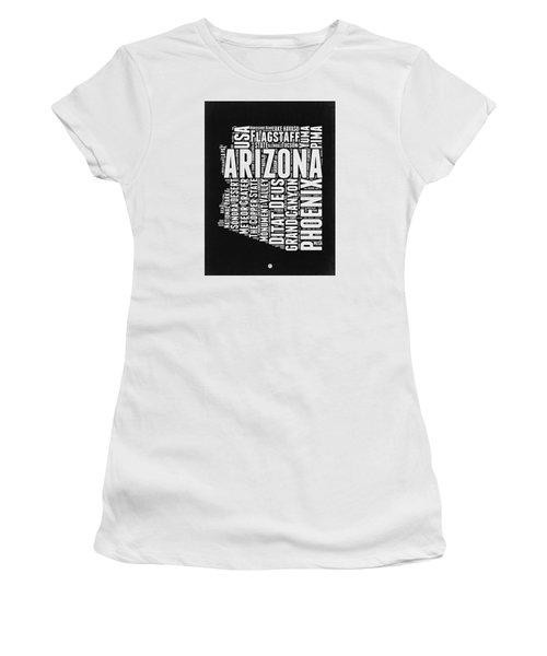 Arizona Black And White Word Cloud Map Women's T-Shirt (Junior Cut) by Naxart Studio