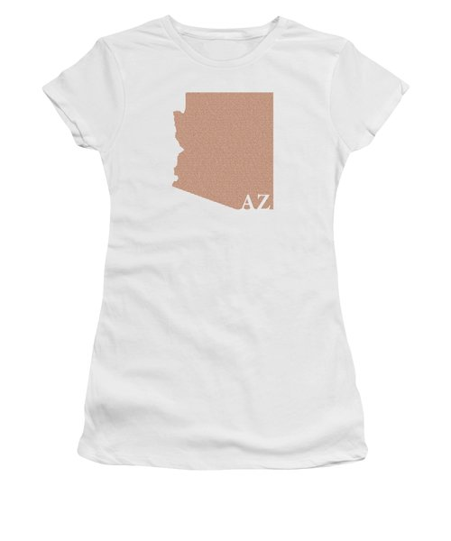 Arizona State Map With Text Of Constitution Women's T-Shirt (Junior Cut) by Design Turnpike