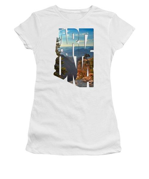 Arizona Typography - Sun Setting On Grand Canyon Women's T-Shirt (Junior Cut) by Gregory Ballos