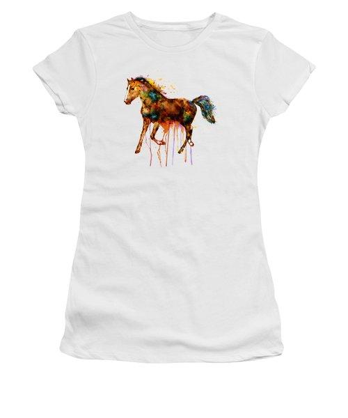 Watercolor Horse Women's T-Shirt (Junior Cut) by Marian Voicu
