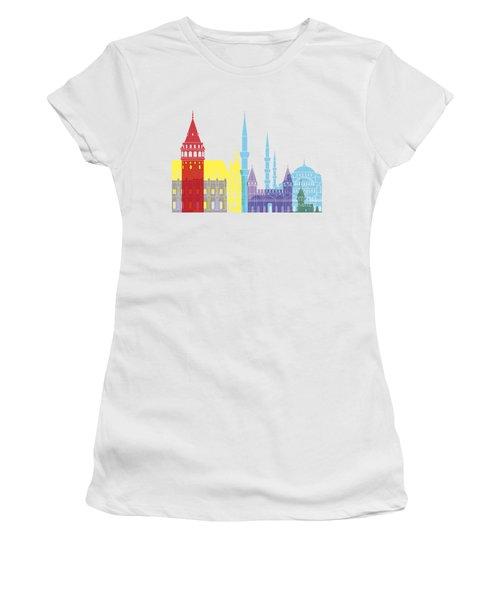 Istanbul Skyline Pop Women's T-Shirt (Junior Cut) by Pablo Romero