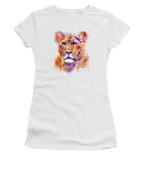 Lioness Head Women's T-Shirt (Junior Cut) by Marian Voicu