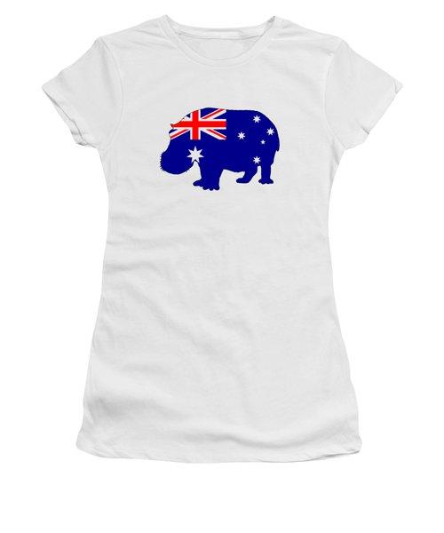 Australian Flag - Hippopotamus Women's T-Shirt (Junior Cut) by Mordax Furittus