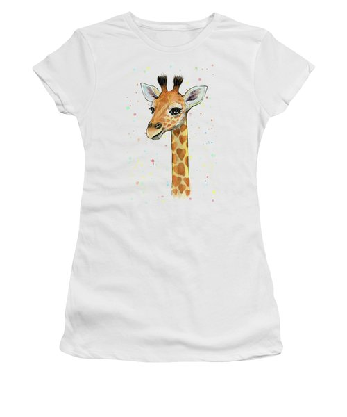 Baby Giraffe Watercolor With Heart Shaped Spots Women's T-Shirt (Junior Cut) by Olga Shvartsur