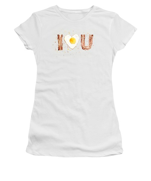 Bacon And Egg Love Women's T-Shirt (Junior Cut) by Olga Shvartsur