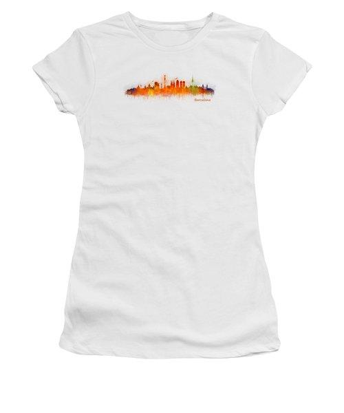Barcelona City Skyline Hq _v3 Women's T-Shirt (Junior Cut) by HQ Photo
