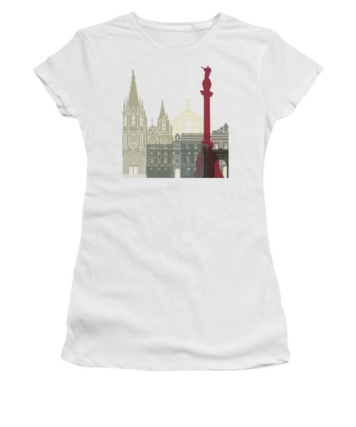 Barcelona Skyline Poster Women's T-Shirt (Junior Cut) by Pablo Romero