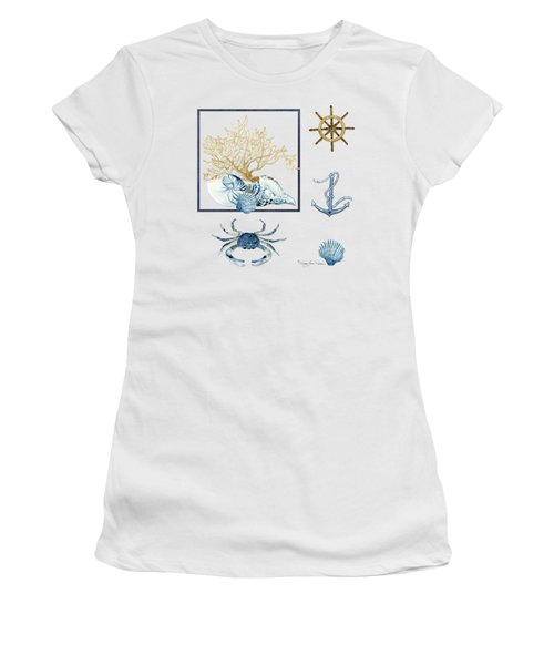 Beach House Nautical Seashells Ships Wheel Anchor N Crab Women's T-Shirt (Junior Cut) by Audrey Jeanne Roberts