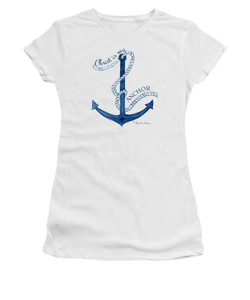 Beach House Nautical Ship Christ Is My Anchor Women's T-Shirt (Junior Cut) by Audrey Jeanne Roberts