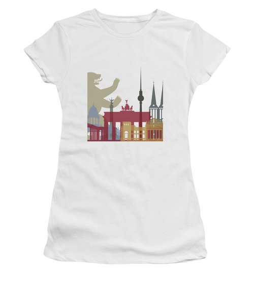 Berlin Skyline Poster Women's T-Shirt (Junior Cut) by Pablo Romero