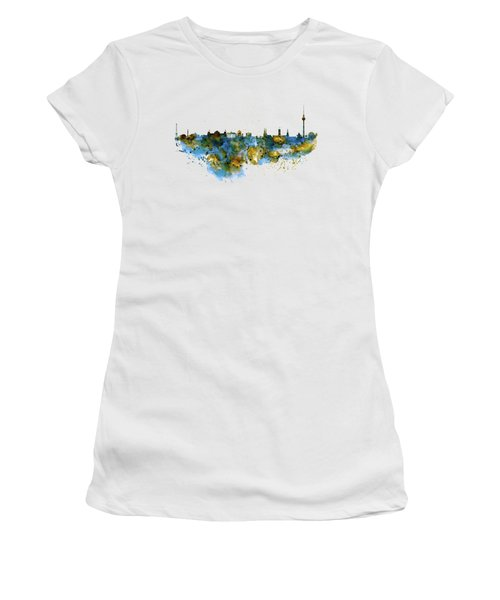 Berlin Watercolor Skyline Women's T-Shirt (Junior Cut) by Marian Voicu