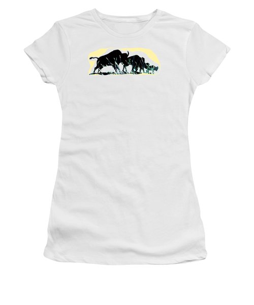 Bison Prairie Run Women's T-Shirt (Junior Cut) by Aliceann Carlton