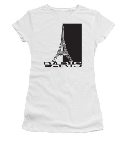 Black And White Eiffel Tower Women's T-Shirt (Junior Cut) by Yurii Perepadia