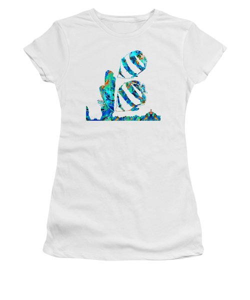 Blue Angels Fish Art By Sharon Cummings Women's T-Shirt (Junior Cut) by Sharon Cummings