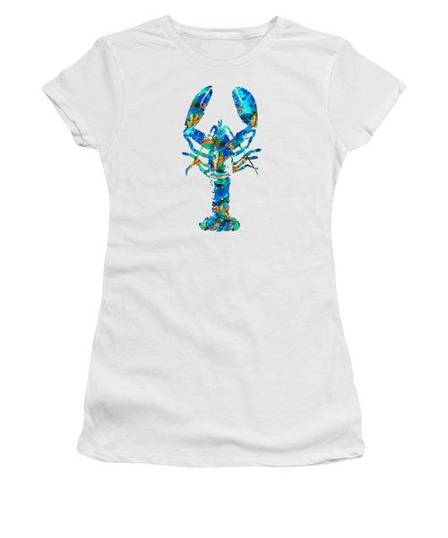 Blue Lobster Art By Sharon Cummings Women's T-Shirt (Junior Cut) by Sharon Cummings