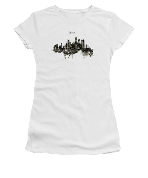 Boston Skyline Black And White Women's T-Shirt (Junior Cut) by Marian Voicu