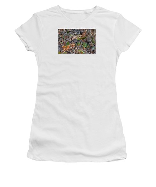 Camouflaged Plumage With Fallen Leaves Women's T-Shirt (Junior Cut) by Asbed Iskedjian