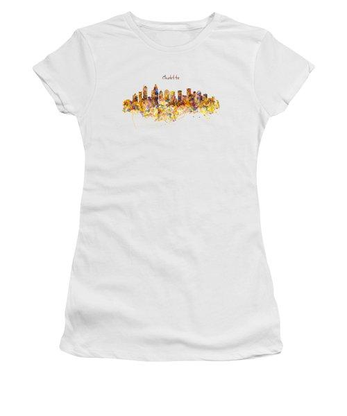 Charlotte Watercolor Skyline Women's T-Shirt (Junior Cut) by Marian Voicu