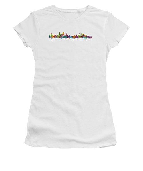 Chicago And St Louis Skyline Mashup Women's T-Shirt (Junior Cut) by Michael Tompsett