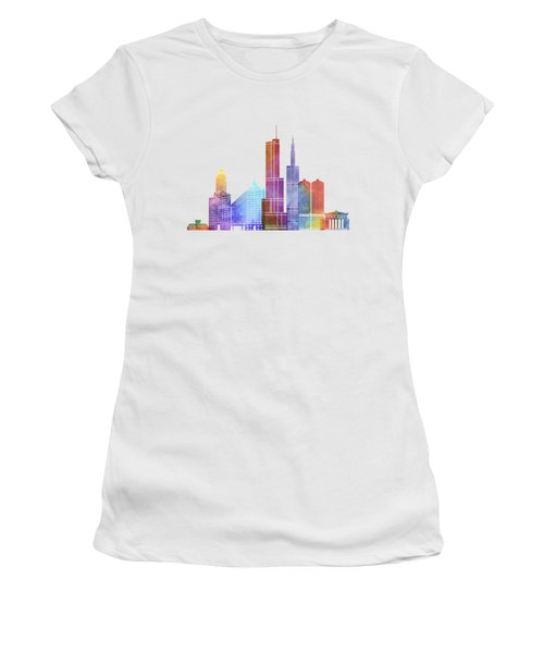 Chicago Landmarks Watercolor Poster Women's T-Shirt (Junior Cut) by Pablo Romero