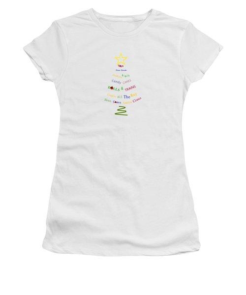 Children Holiday Tree Women's T-Shirt (Junior Cut) by Kathleen Sartoris