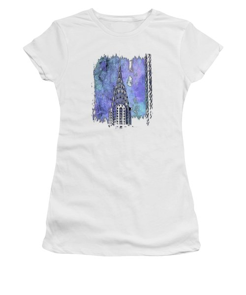 Chrysler Spire Berry Blues 3 Dimensional Women's T-Shirt (Junior Cut) by Di Designs