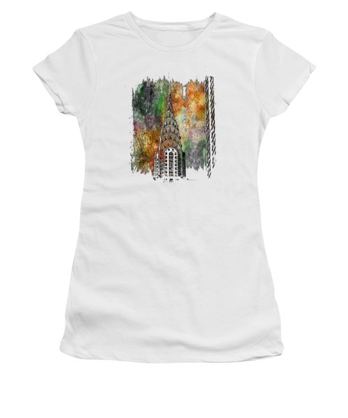 Chrysler Spire Muted Rainbow 3 Dimensional Women's T-Shirt (Junior Cut) by Di Designs