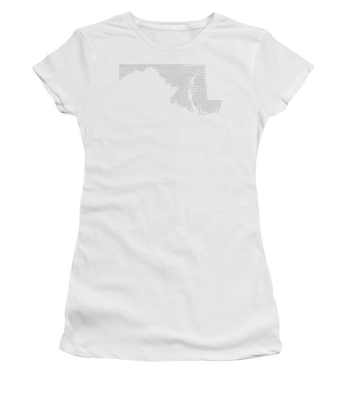 Cities And Towns In Maryland Black Women's T-Shirt (Junior Cut) by Custom Home Fashions