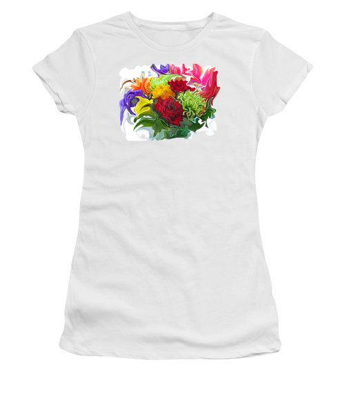 Colorful Bouquet Women's T-Shirt (Junior Cut) by Kathy Moll
