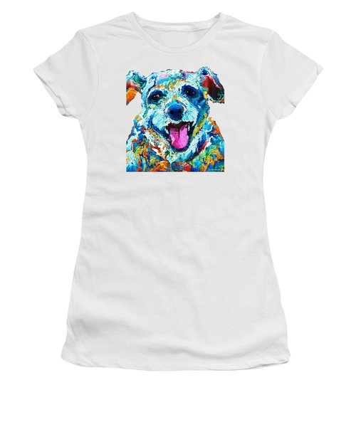 Colorful Dog Art - Smile - By Sharon Cummings Women's T-Shirt (Junior Cut) by Sharon Cummings