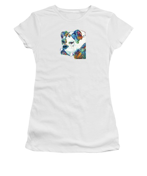 Colorful English Bulldog Art By Sharon Cummings Women's T-Shirt (Junior Cut) by Sharon Cummings