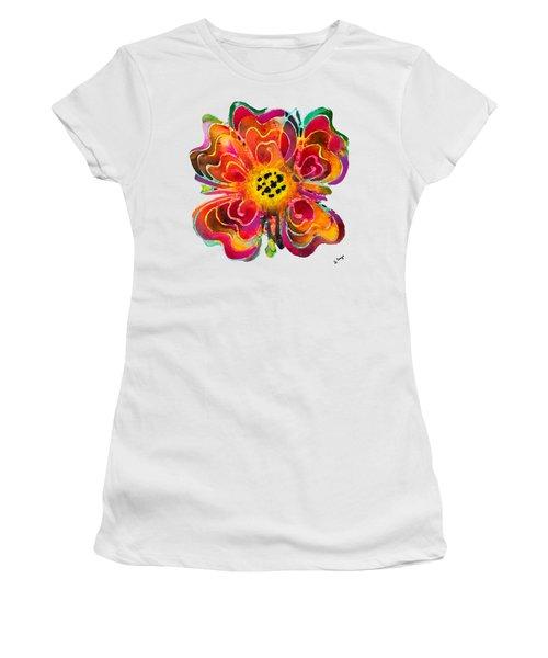 Colorful Flower Art - Summer Love By Sharon Cummings Women's T-Shirt (Junior Cut) by Sharon Cummings