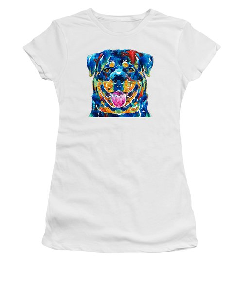 Colorful Rottie Art - Rottweiler By Sharon Cummings Women's T-Shirt (Junior Cut) by Sharon Cummings
