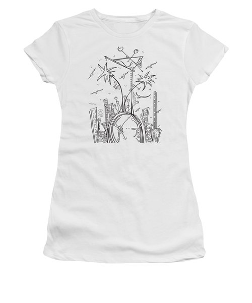 Coloring Page With Beautiful City Martini Drawing By Megan Duncanson Women's T-Shirt (Junior Cut) by Megan Duncanson