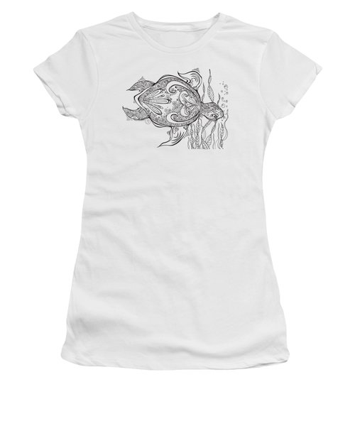 Coloring Page With Beautiful Turtle Drawing By Megan Duncanson Women's T-Shirt (Junior Cut) by Megan Duncanson