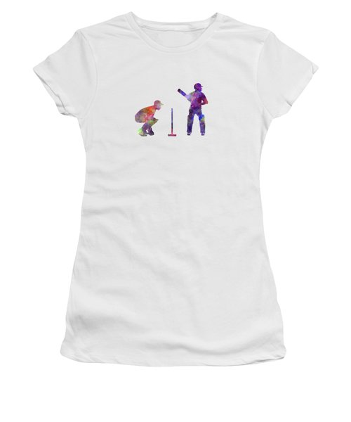 Cricket Player Silhouette Women's T-Shirt (Junior Cut) by Pablo Romero