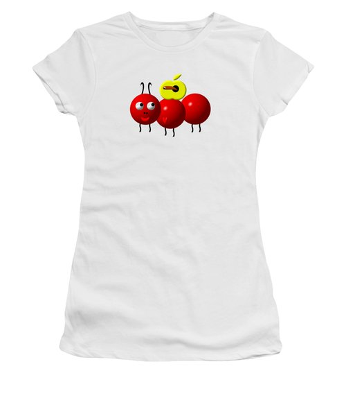 Cute Ant With An Apple Women's T-Shirt (Junior Cut) by Rose Santuci-Sofranko