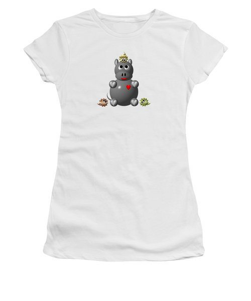 Cute Hippo With Hamsters Women's T-Shirt (Junior Cut) by Rose Santuci-Sofranko