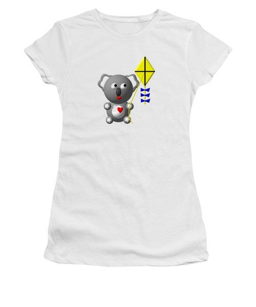 Cute Koala With Kite Women's T-Shirt (Junior Cut) by Rose Santuci-Sofranko